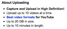 YouTube 20GB File Size