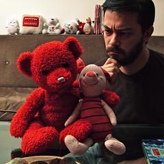 52 Weeks (09): Piglet's Arrival! (x2) (Sion+Anton) Tags: nyc newyorkcity portrait self beard athome mememe glasstable brownshirt gaymale antonkawasaki pigletarrives wellbehavedrojo rojoisusuallyveryverynaughty wellmaybehestillhasplans stuffedredteddybearhuggingpiglet 52weeks09pigletsarrival sittingonthecoucheggmonsterpussynewyorkbearchiquishakeybacongloomybear