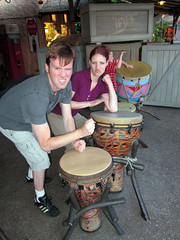 ian and tammy get busy on the bongos at epcot