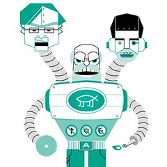 a graphic illustration of robot with three distinctly male heads, with anti-religion symbols on his body