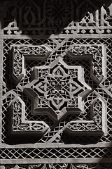Marrakesh 29 (Craig !) Tags: bw detail architecture morocco marrakesh warmgrey carvedplaster