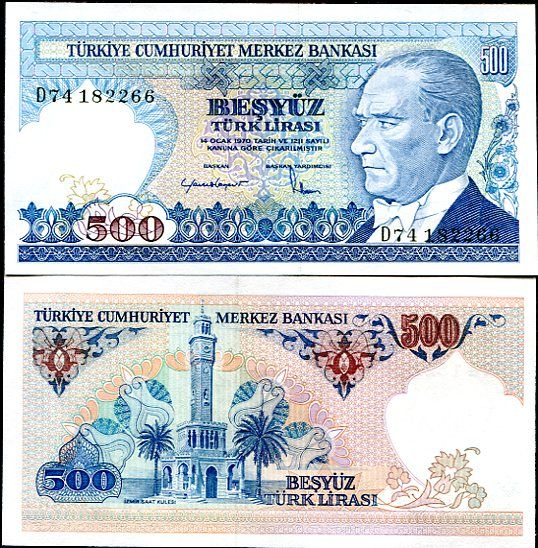 500 Lír Turecko L.1970(1983), P195