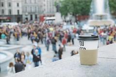 Coffee cup and Trafalgar Square (Charly Waite) Tags: film coffee square scans trafalgar encounters