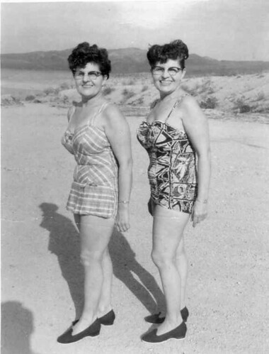 Twins in Bathing Suits, 1950's