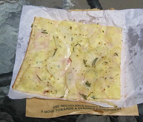 Potato, rosemary, Spanish onion and ricotta pizza at Bourke St Bakery