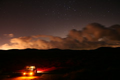 light pollution from AV (Shutter Theory) Tags: old longexposure abandoned stars nightshots atnight quarry 1973 datsun butterscotch slowshutterspeed 620 inthedark l20b thenightsky bulletside pl620 fairmontbuttes