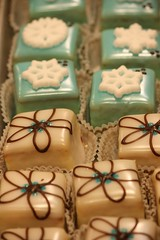 blue holiday petit fours