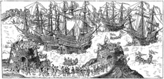 Embarcation of Henry VIII, 1520 (CGoulao) Tags: ocean old uk inglaterra sea england costa history illustration vintage book design coast boat mar ship graphic unitedkingdom picture dessin engraving fortaleza british goldenage livro draw fortress ilustrao henryviii velho desenho histria ancienne antigo reinounido lithograph gravura figura caravela 1520 gravure ilustrar goldenageofillustration englandhistory englishreader eglishreader histriadeinglaterra