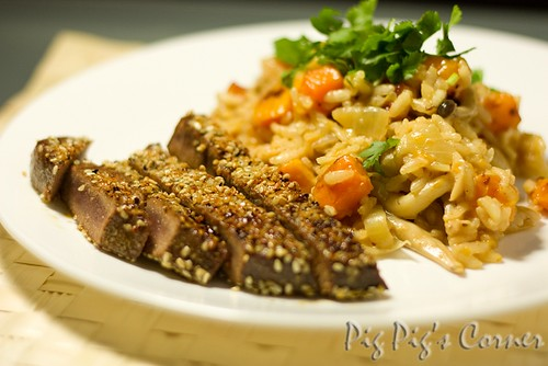 Butternut Squash and Mushroom Risotto with Tuna