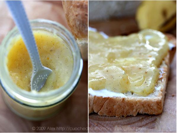 Marmellata di banane, vaniglia e succo d'arancia