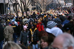 The fans!! (Deepak & Sunitha) Tags: pittsburgh nfl super bowl victory parade title superbowl sixth celebrate 2009 steelers champions grantstreet gosteelers terribletowel herewego steelernation xliii sixburgh slashd