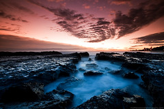 Radiant Sea (Matthew Stewart | Photographer) Tags: beach clouds sunrise rocks matthew australia stewart qld queensland currumbin goldcoast