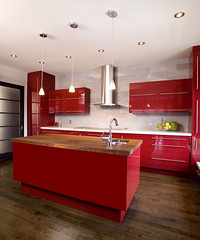 Red modern kitchen with island (Remodeleze) Tags: wood red urban white canada black home kitchen fruit architecture modern design estate apartment counter floor sink bright cabinet contemporary steel interior space decoration creative dream lifestyle style indoor clean domestic decorating granite inside remodel expensive decor household residential luxury townhome built stainless cabinets remodeling dwelling counters