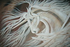 """My Magical Guardian"" (essenceforart) Tags: red horse moon white abstract black tree guitar originalpainting pegasus crow custom unicorn magical lang equine efa loh mythical shootingstar starsandmoon essenceforart"