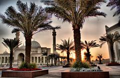 Sunset in Al Fateh mosque Bahrain (ـــاريAlAmmariالعـمـــ) Tags: trees sunset sun set canon palms bahrain al mosque fateh juffair manama مسجد غروب البحرين الشمس alammari نخيل كانون الفاتح d450 العماري المنامة الجفير fotocompetitionbronze