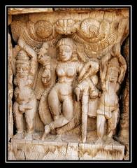 Wood carving detail2 - Vishnu Mohini (Avanibhajana) Tags: wood sculpture india art heritage temple worship vishnu god traditional carving salem hindu tamilnadu woodcarving mohini southindia intricate templecar ayodhyapattinam nayakstyle