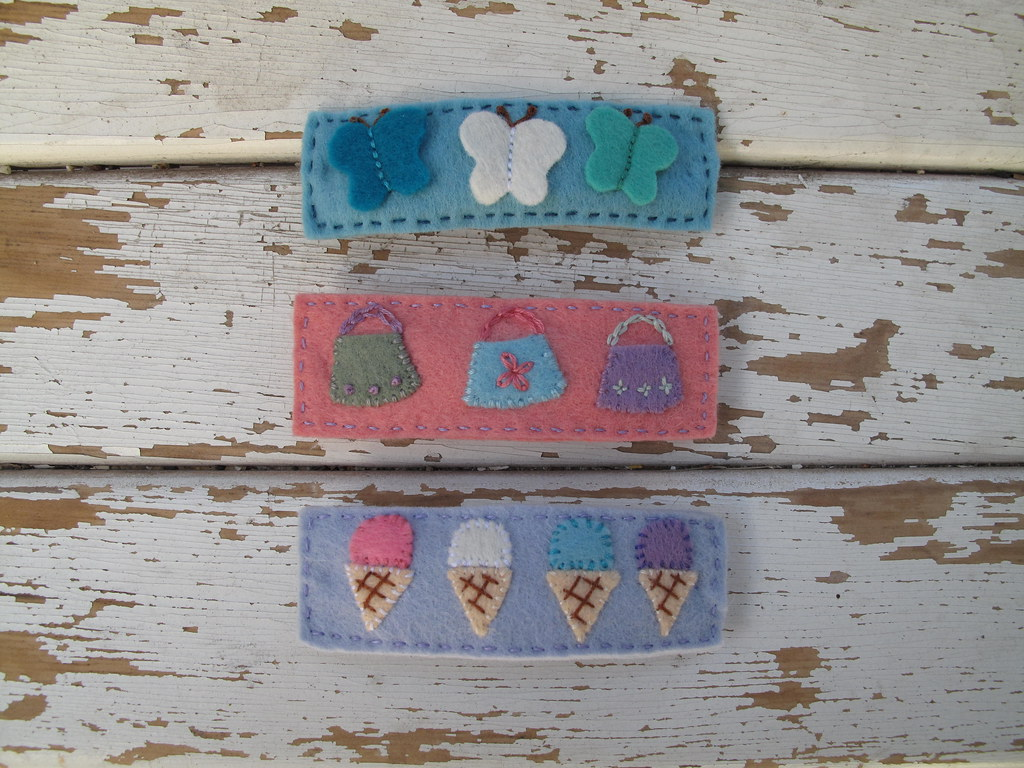 wool felt barrettes