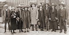 Tourists in Tijuana Mexico (newmexico51) Tags: old 1920s woman man men vintage ties mexico found photo women hats bowtie tourists cap photograph dresses tijuana coats 20thcentury purses 1924 sombreros jodhpurs watchchains