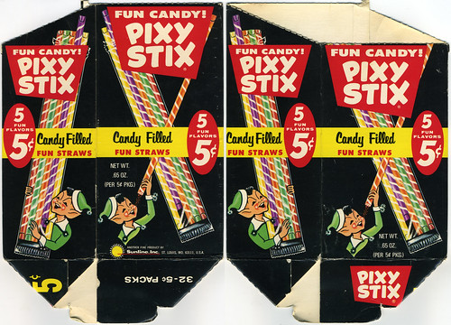Pixy Stix 5-cent pack display box - Late 60