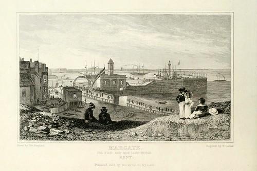 002-Margate-Muelle y el nuevo faro-Kent 1835