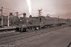 30055 taking water at Three Bridges 22 April 1962 (pondhopper1) Tags: blackandwhite white black railway steam uksteam