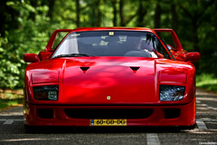F40. (Denniske) Tags: red holland netherlands field canon rouge eos is dof shot bokeh 10 05 may ferrari front 09 f l 10th 40 28 mm nl dennis frontal rood rosso 70200 2009 depth f28 ef jumbo f40 the noten lseries llens veghel rt exclusief 40d denniske