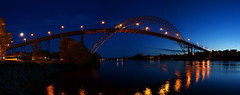 Fredrikstadbrua - deep blue twilight sky (Olemik) Tags: bridge norway twilight stitch pano 2009 fredrikstad hugin fredrikstadbrua sonyalphadslra200 stichedpano enlightedbridge