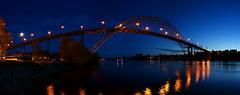 Fredrikstadbrua - deep blue twilight sky (Olemik) Tags: bridge norway twilight stitch pano 2009 fredrikstad hugin fredrikstadbrua sonyalphadslra200 stichedpano enlightedbridge