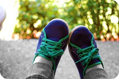 Shoes make me smile. (backgroundmusic) Tags: new blue blackandwhite bw music favorite white black color cute green colors fun outside happy photo interesting shoes pretty bokeh background ashley tie walmart jeans your today rounded catchy picnik smily selective corners selectivecolor