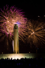 Fireworks behind the Liberty Memorial shaft
