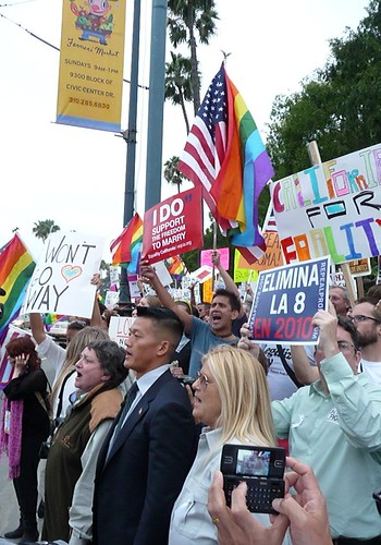 Lt. Dan Choi leading a gay-rights rally
