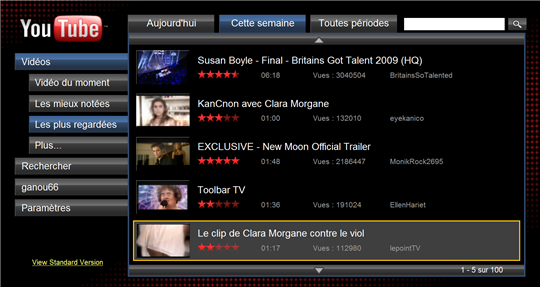 youtube XL home page