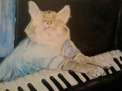 Keyboard Cat, acryllic on canvas