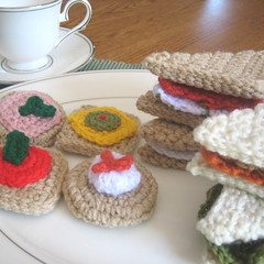 Tea sandwiches and crackers (craftyanna) Tags: party food girl toy diy stuffed pattern play tea finger patterns crochet fake sandwich instructions appetizers sandwiches pretend