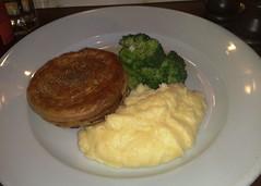 Organic chicken and Serrano ham pie with creme fraiche mash at Nobles, Edinburgh