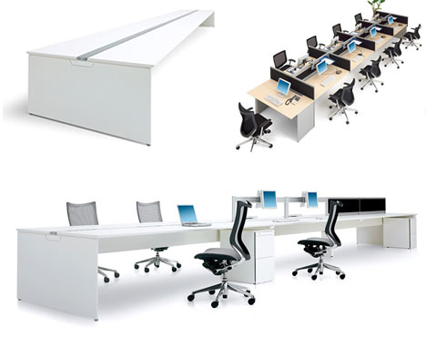 okamura low chairs and big desks