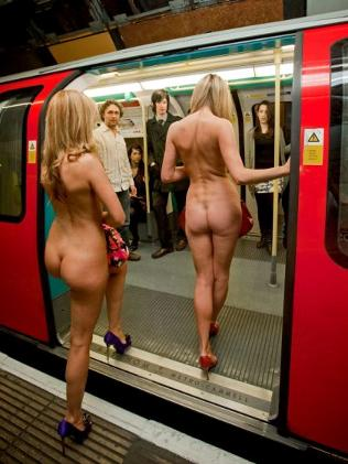 Naked commuters at Charing Cross Tube