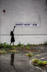 Banksy wasn't here... (S.Vegas) Tags: vegas canada reflection girl vancouver canon graffiti stencil may banksy here dslr ix 2010 jerm wasnt eos40d
