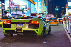 LP640 Roadster in Times Square (KlausKniehase / KneeRabbit) Tags: new york city nyc black verde green night square shot manhattan wheels broadway midtown lp times ithaca lamborghini supercar 42nd roadster murcielago 640 lp640