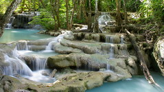tiered waterfall (openyourap) Tags: mountain motion blur tree green fall nature water pool beautiful beauty rock stone forest wonderful river landscape thailand flow waterfall movement asia stream view natural outdoor smooth scenic peaceful down scene drop jungle tropical environment serene flowing wilderness lovely splash pure cascade rapid tranquil kanchanaburi erawan pristine the4elements justpentax