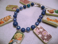 Altered Mini Domino Charm Bracelet (cindyiscrafty) Tags: art altered vintage photo beads charm images bracelet sterling domino cindyiscrafty