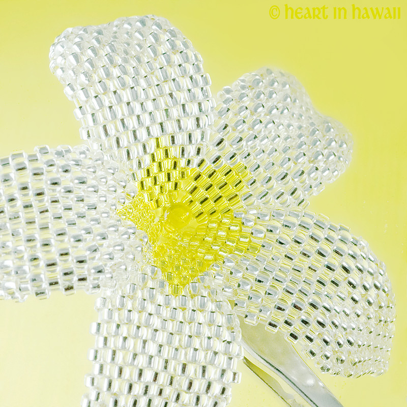 Tropical Plumeria Flower - silver-lined crystal with yellow
