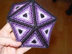 Plastic Canvas Icosahedron - Adding Triangles Between the Triangles