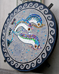 Dolphins for me (malcolmskipp) Tags: outdoor dolphins iridescent glassceramicmosaicdolphinsart