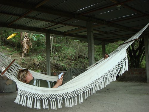 Taking a rest in the rooftop hammock. Cali - Colombia.