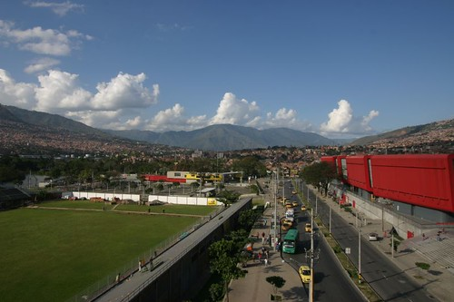 View from the Universitario metro station, Medellín, Colombia.
