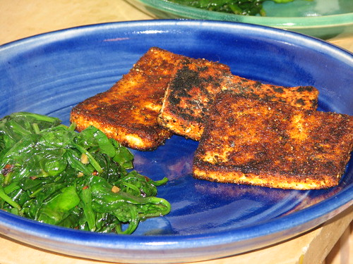 blackened tofu and garlic spinach