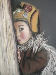 a little shy (An Vandeput) Tags: original portrait art kid artist drawing pastel shy tibet 2007