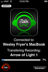 iTalk Sync: Transferring a file from the iPhone to a laptop