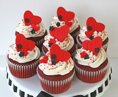 Red & Black Shower Cupcakes